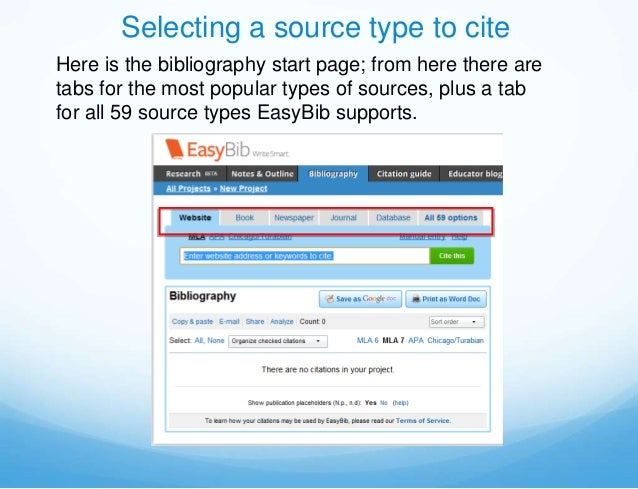 Selecting a source type to citeHere is the bibliography start page; from here there aretabs for the most popular types of ...