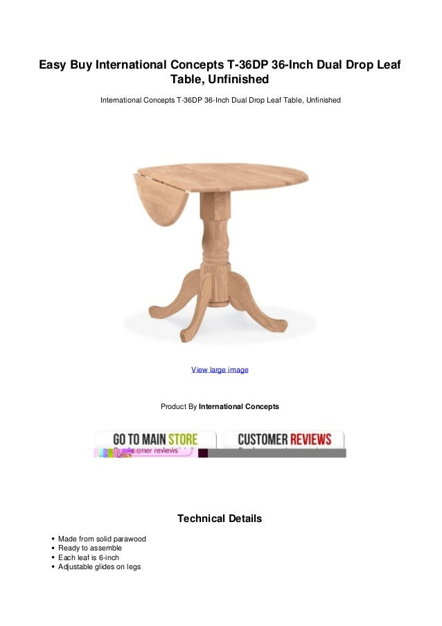 ... Leaf Table Unfinished. Easy Buy International Concepts T 36DP 36 Inch  Dual Drop LeafTable, UnfinishedInternational Concepts ...