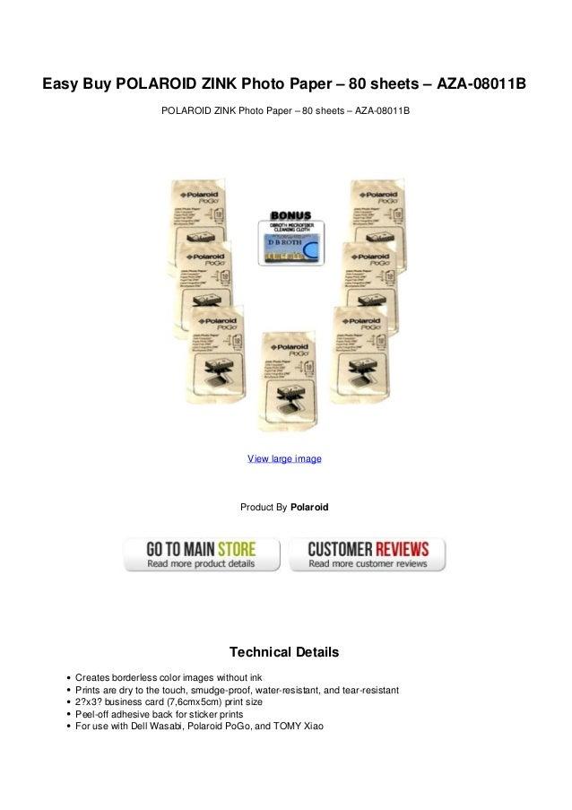 Easy Buy Polaroid Zink Photo Paper 80 Sheets Aza 08011 B