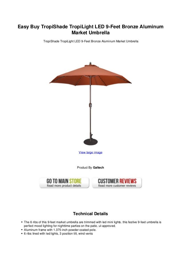 Easy Buy TropiShade TropiLight LED 9-Feet Bronze Aluminum                     Market Umbrella                 TropiShade T...