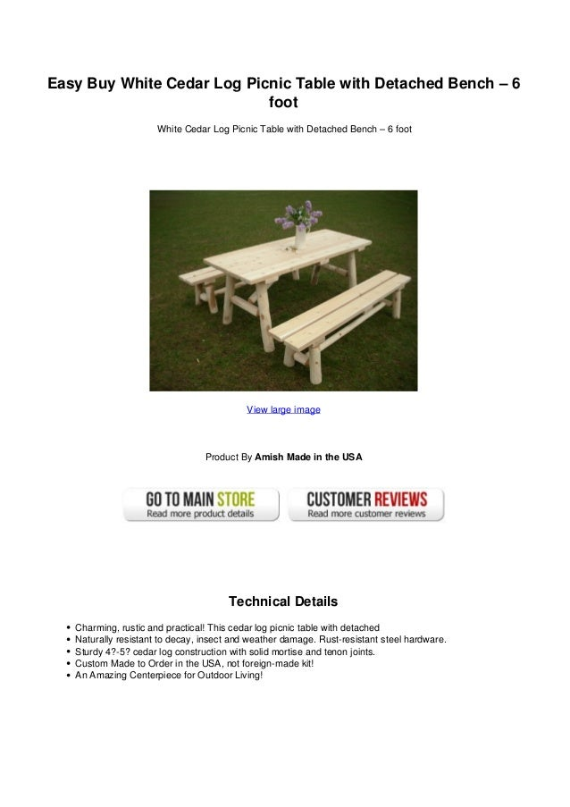 Easy Buy White Cedar Log Picnic Table With Detached Bench Foot - Picnic table hardware kit