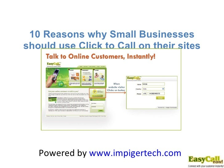 Benefits of Click to Call  for Small Businesses Powered by  www.impigertech.com