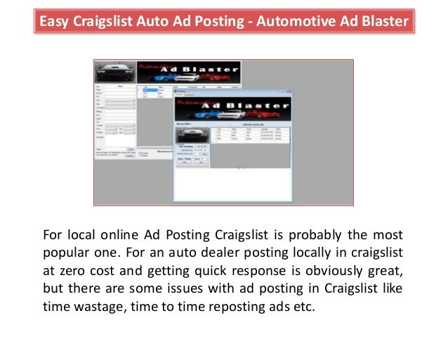 Automotive as blatser craigslist auto posting software for cars and v…
