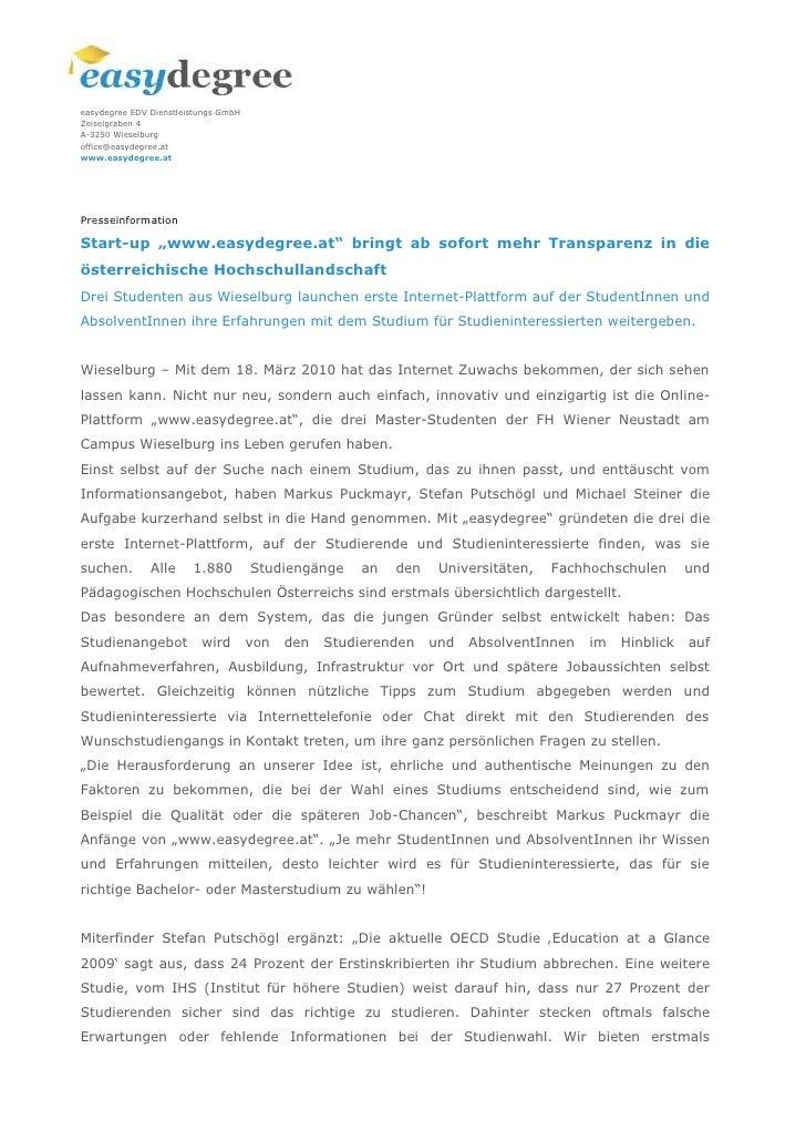 """Presseinformation<br />Start-up """"www.easydegree.at"""" bringt ab sofort mehr Transparenz in die österreichische Hochschulland..."""