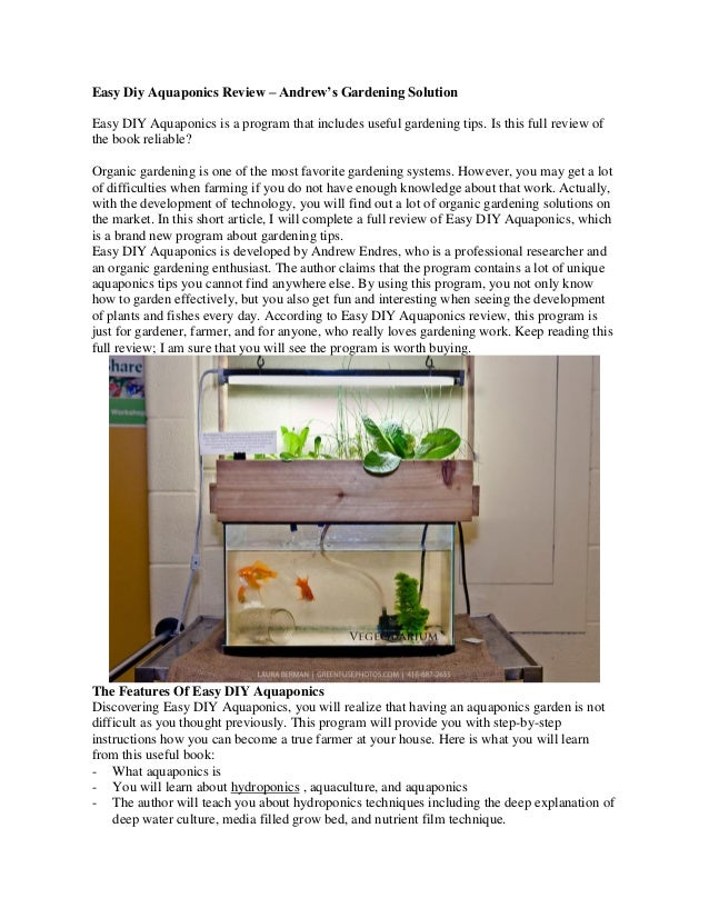 Easy Diy Aquaponics Review – Andrew's Gardening Solution  Easy DIY Aquaponics is a program that includes useful gardening ...