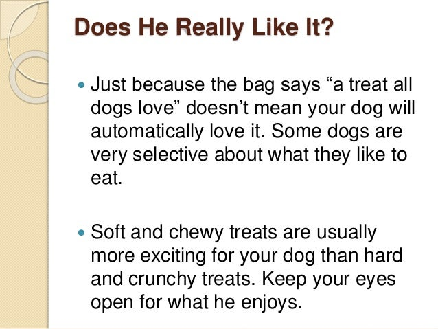 """Does He Really Like It?  Just because the bag says """"a treat all dogs love"""" doesn't mean your dog will automatically love ..."""