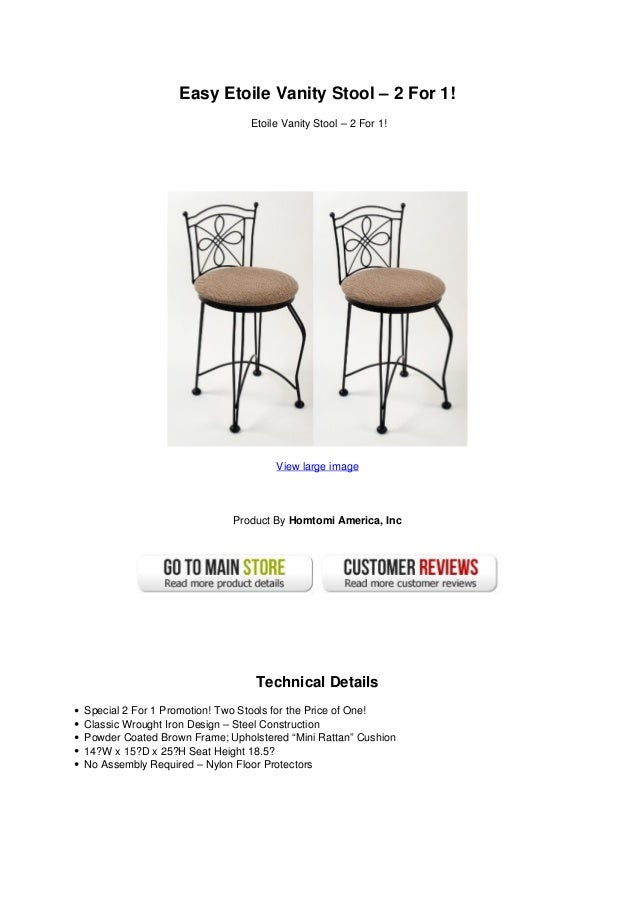 Terrific Easy Etoile Vanity Stool 2 For 1 Short Links Chair Design For Home Short Linksinfo