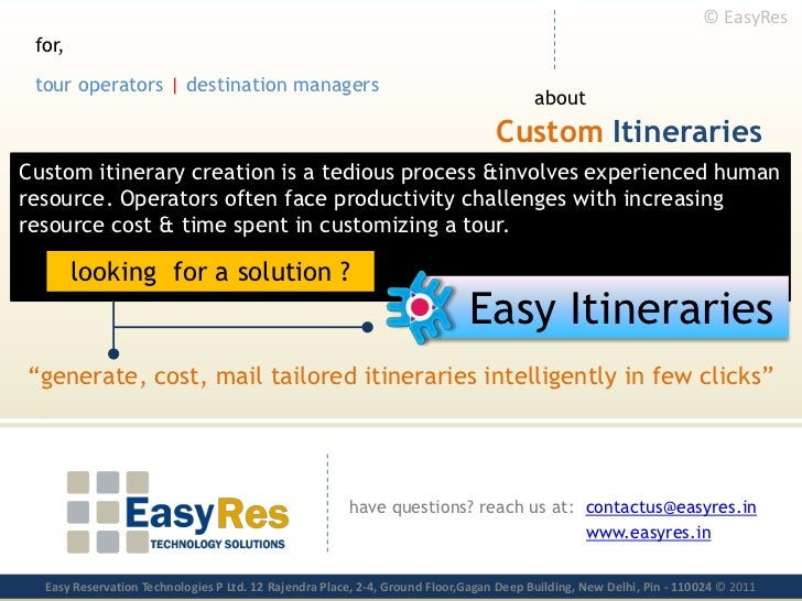 © EasyRes<br />for,<br />touroperators| destinationmanagers<br />about<br />CustomItineraries<br />Custom itinerary creati...