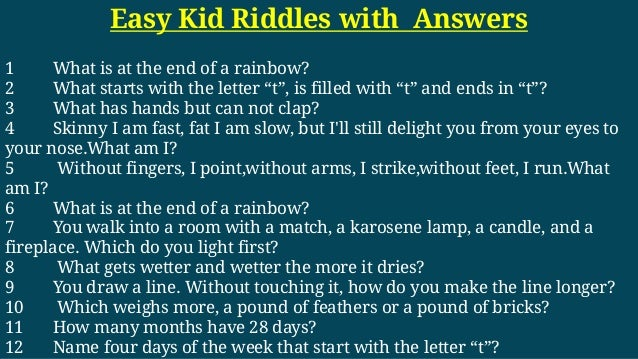 Easy Kid Riddles With Answers