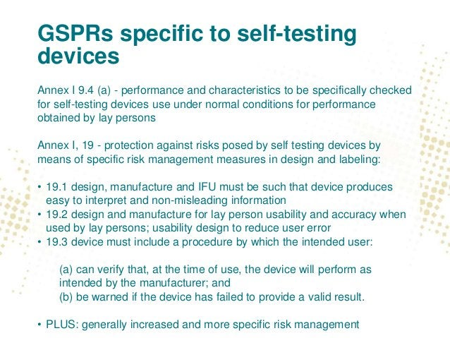 GSPRs specific to self-testing devices Annex I 9.4 (a) - performance and characteristics to be specifically checked for se...