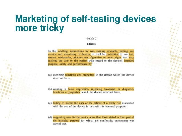 Marketing of self-testing devices more tricky