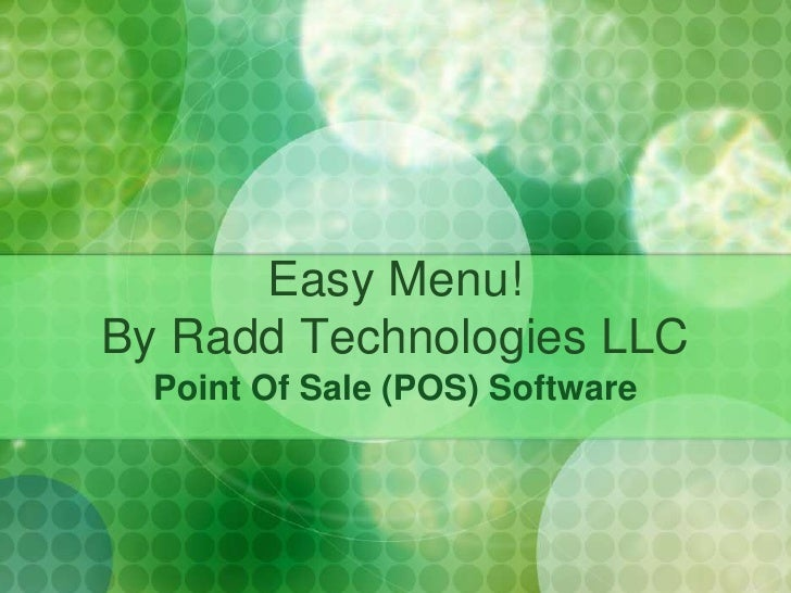 Easy Menu!By Radd Technologies LLC<br />Point Of Sale (POS) Software<br />