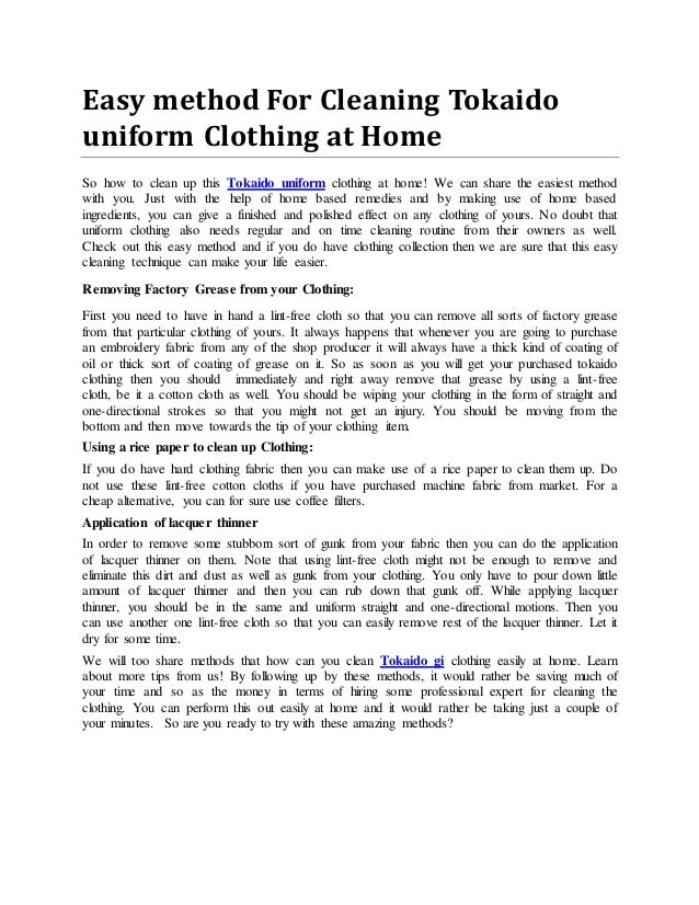 Easy method For Cleaning Tokaido uniform Clothing at Home So how to clean up this Tokaido uniform clothing at home! We can...