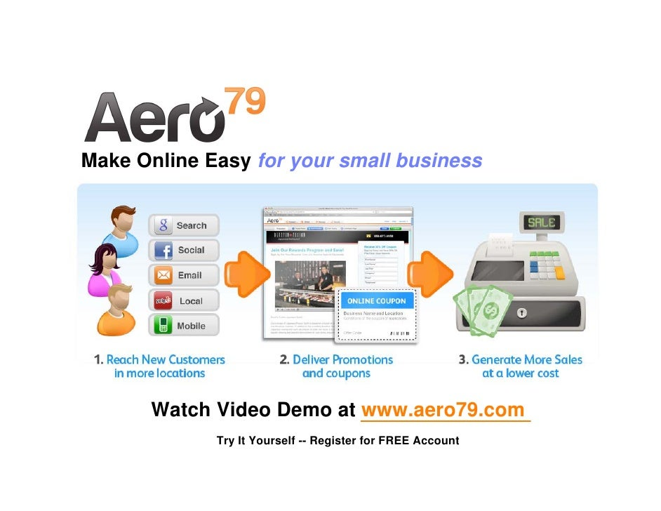 Make Online Easy for your small business           Watch Video Demo at www.aero79.com              Try It Yourself -- Regi...