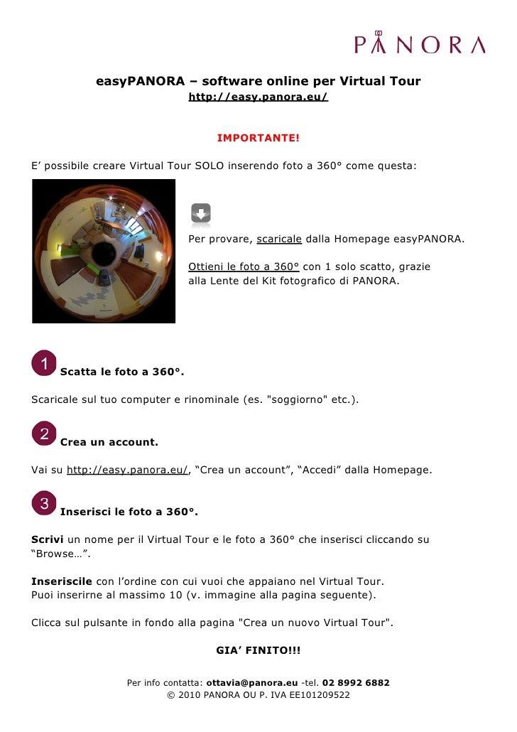 easyPANORA – software online per Virtual Tour                               http://easy.panora.eu/                        ...
