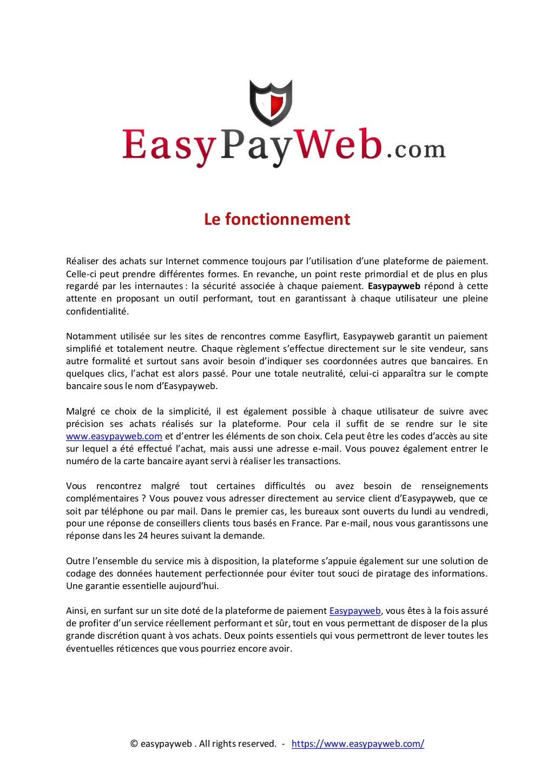 Easypayweb - Le fonctionnement