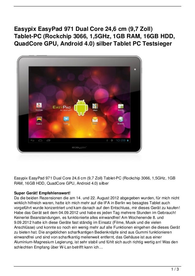 Easypix EasyPad 971 Dual Core 24,6 cm (9,7 Zoll)Tablet-PC (Rockchip 3066, 1,5GHz, 1GB RAM, 16GB HDD,QuadCore GPU, Android ...