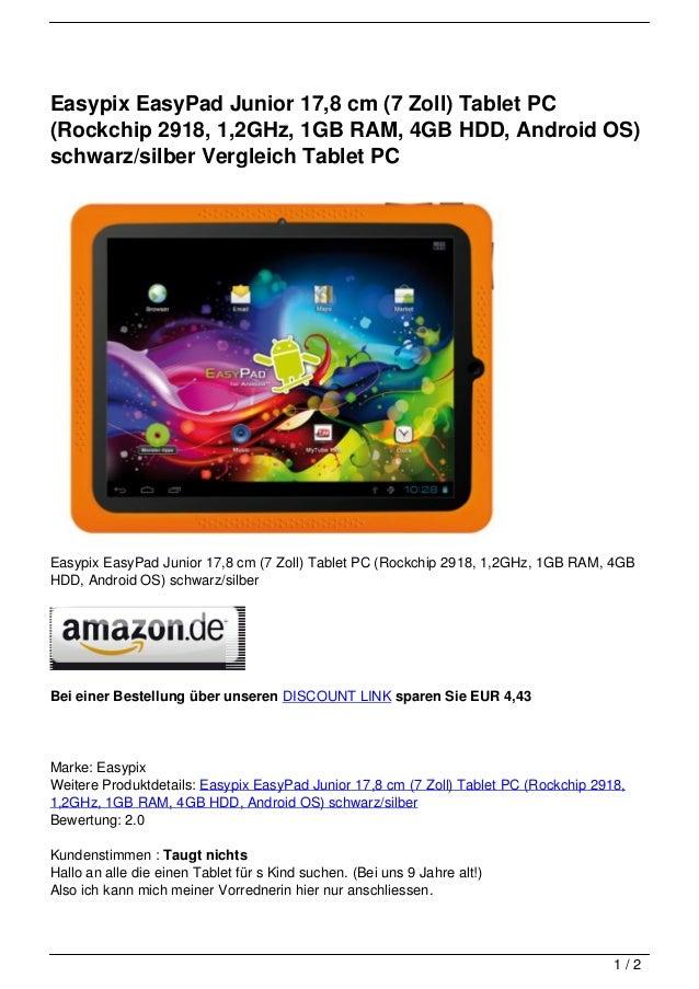 Easypix EasyPad Junior 17,8 cm (7 Zoll) Tablet PC(Rockchip 2918, 1,2GHz, 1GB RAM, 4GB HDD, Android OS)schwarz/silber Vergl...