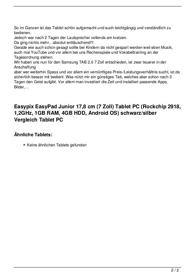 Easypix EasyPad Junior 17,8 cm (7  Zoll) Tablet PC (Rockchip 2918, 1,2GHz, 1GB RAM, 4GB HDD, Android OS) schwarz/silber Vergleich Tablet PC Slide 2