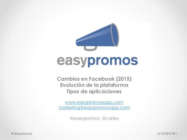 Cambios en Facebook (2015) Evolución de la plataforma Tipos de aplicaciones www.easypromosapp.com marketing@easypromosapp....