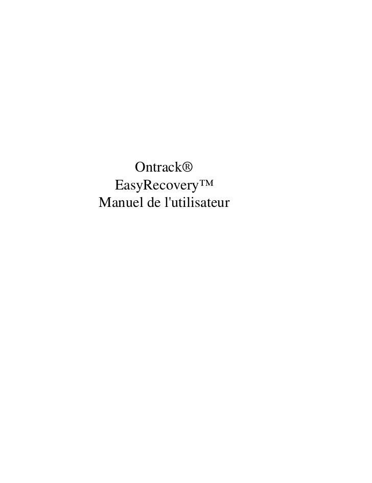 Ontrack® EasyRecovery™Manuel de lutilisateur