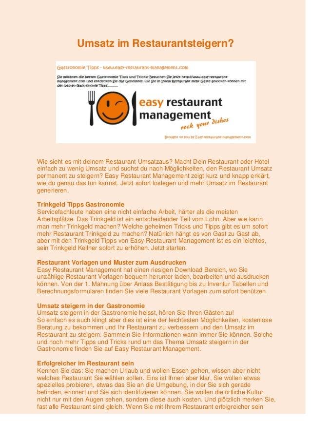 Umsatz Im Restaurantsteigern