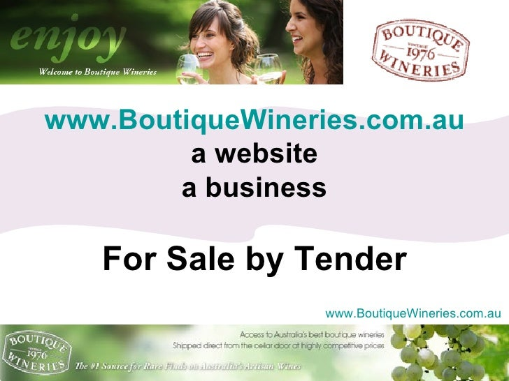 www.BoutiqueWineries.com.au a website a business For Sale by Tender