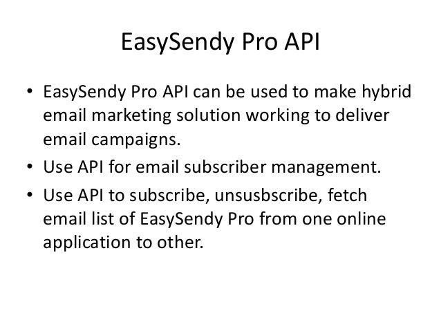 EasySendy Pro Email Marketing API Slide 2