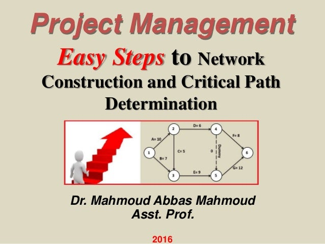 Easy Steps to Network Construction and Critical Path Determination Project Management Dr. Mahmoud Abbas Mahmoud Asst. Prof...