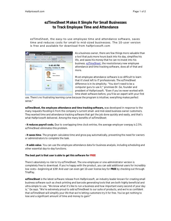 ezTimeSheet Makes it Simple For Small Businesses to Track Employee Ti…