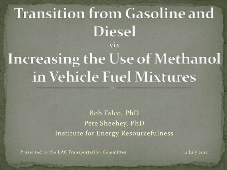 Bob Falco, PhD                       Pete Sheehey, PhD              Institute for Energy ResourcefulnessPresented to the L...