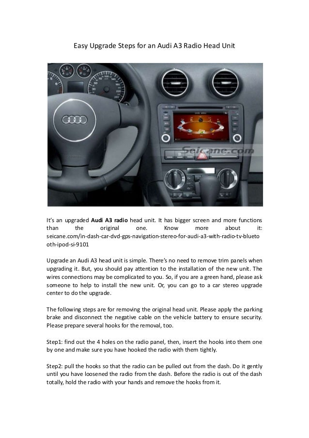 Audi A3 Audio Upgrade