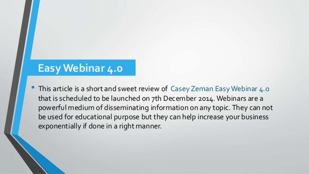 Easy webinar 4.0 review + low price Slide 2