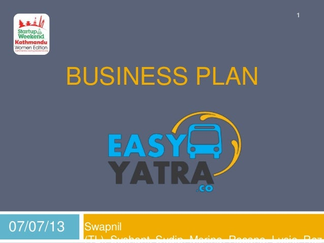 BUSINESS PLAN Swapnil07/07/13 1