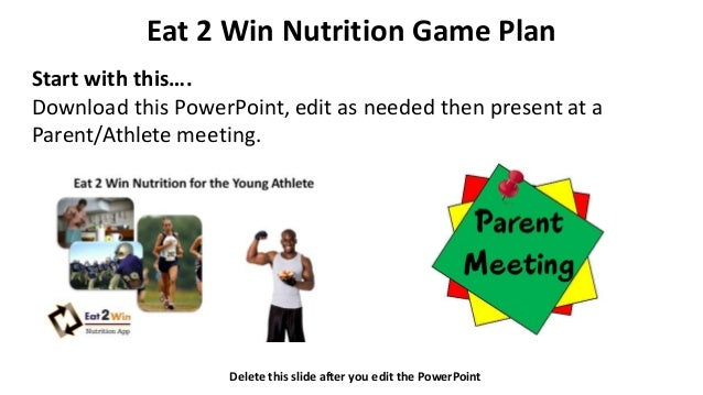 Eat 2 Win Nutrition Game Plan Start with this…. Download this PowerPoint, edit as needed then present at a Parent/Athlete ...