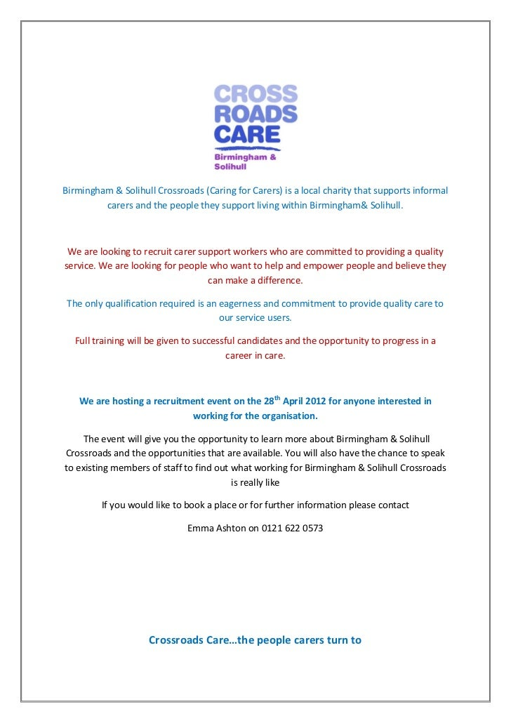 Birmingham & Solihull Crossroads (Caring for Carers) is a local charity that supports informal         carers and the peop...