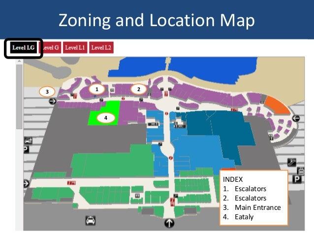 Zoning and Location Map 1 23 4 INDEX 1. Escalators 2. Escalators 3. Main Entrance 4. Eataly