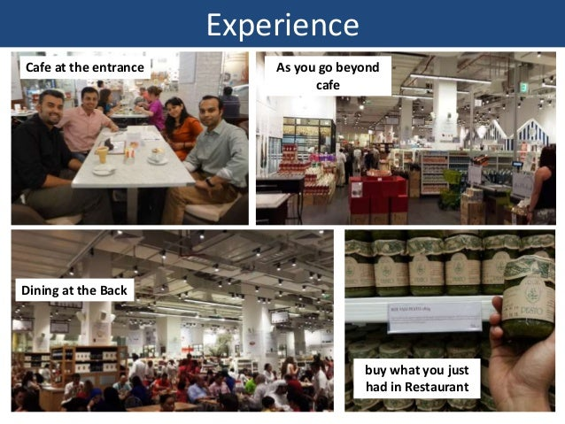 Experience Cafe at the entrance As you go beyond cafe Dining at the Back buy what you just had in Restaurant