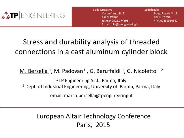 stress and durability analysis of threaded connections in a cast alum…