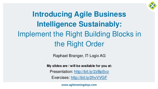 My slides are / will be available for you at: Introducing Agile Business Intelligence Sustainably: Implement the Right Bui...