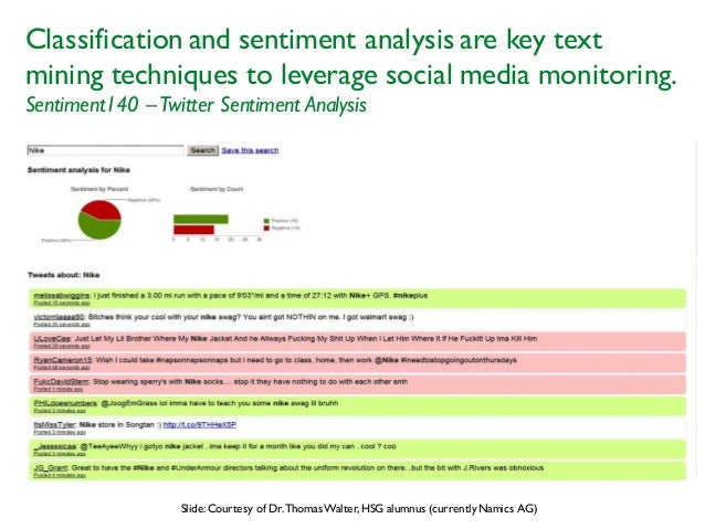 Classification and sentiment analysis are key text mining techniques to leverage social media monitoring. Sentiment140 –Tw...