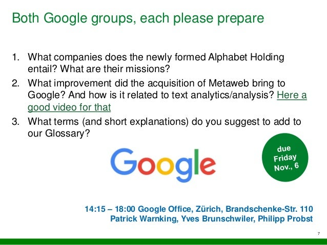 Both Google groups, each please prepare 7 1. What companies does the newly formed Alphabet Holding entail? What are their ...
