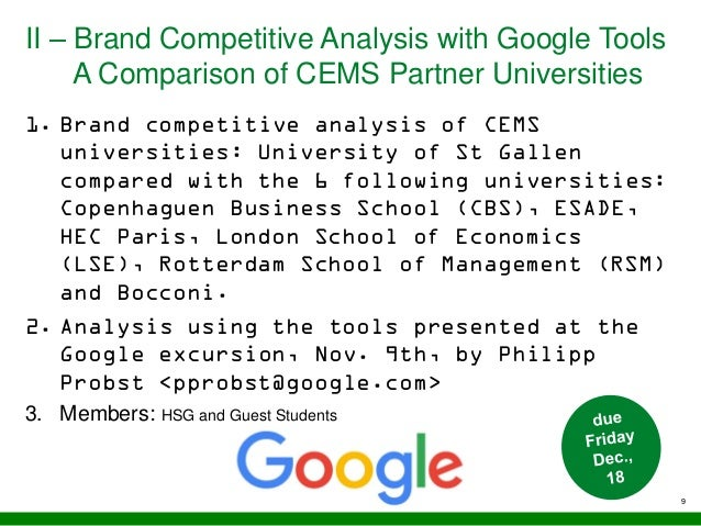 II – Brand Competitive Analysis with Google Tools A Comparison of CEMS Partner Universities 9 1. Brand competitive analysi...