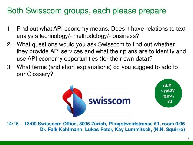 Both Swisscom groups, each please prepare 10 1. Find out what API economy means. Does it have relations to text analysis t...