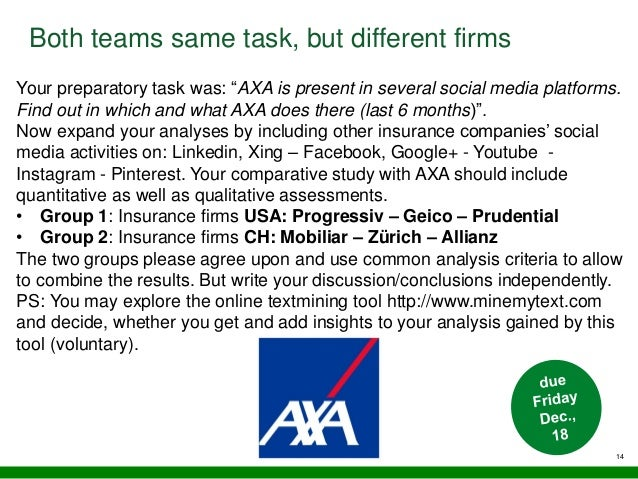 """14 Both teams same task, but different firms Your preparatory task was: """"AXA is present in several social media platforms...."""