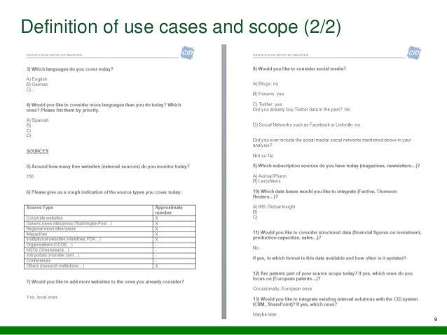 9 Definition of use cases and scope (2/2)