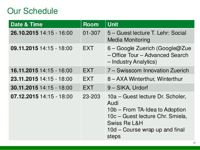Our Schedule Date & Time Room Unit 26.10.2015 14:15 - 16:00 01-307 5 – Guest lecture T. Lehr: Social Media Monitoring 09.1...