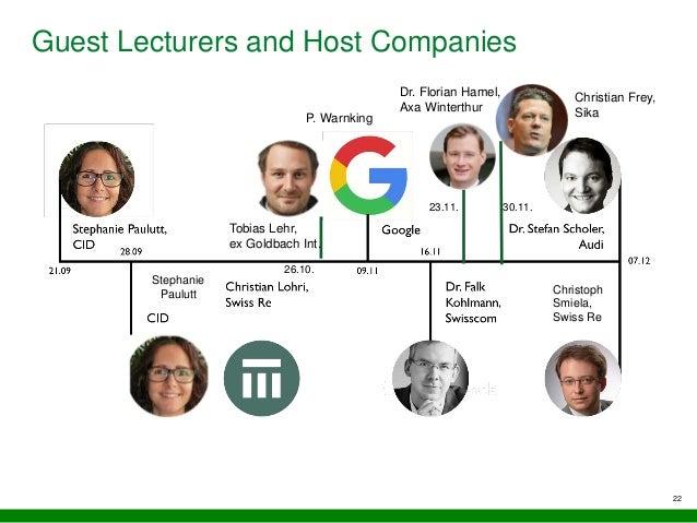 Guest Lecturers and Host Companies 22 Tobias Lehr, ex Goldbach Int. 26.10. 30.11.23.11. Dr. Florian Hamel, Axa Winterthur ...