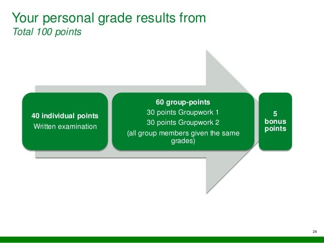 Your personal grade results from Total 100 points 24 40 individual points Written examination 60 group-points 30 points Gr...
