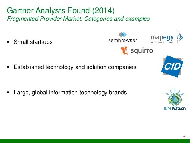 Gartner Analysts Found (2014) Fragmented Provider Market: Categories and examples  Small start-ups  Established technolo...